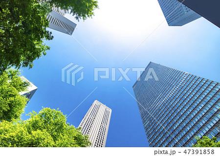 高層ビルを見上げるオフィス街の風景 47391858