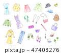 ファッション 小物 手描き水彩イラスト 47403276
