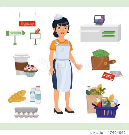 asian woman as cashier counter 47404062