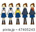 セーラー服 女の子 笑顔のイラスト 47405243