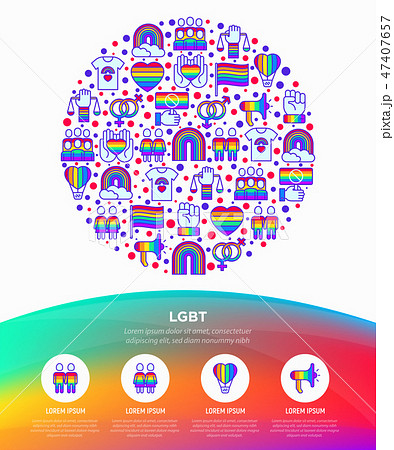 LGBT concept in circle with thin line icons 47407657