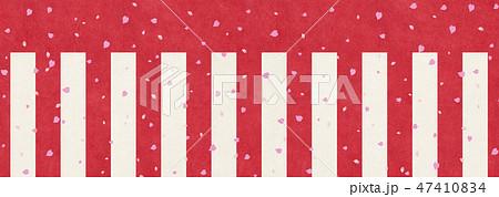 和風背景素材-紅白幕-桜吹雪 47410834