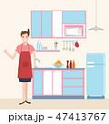 女性 メス キッチンのイラスト 47413767
