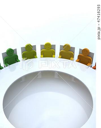 CG 3D イラスト 立体 デザイン アイコン 人 国際 会議 G20 輪 地球 人種 政治 47416293