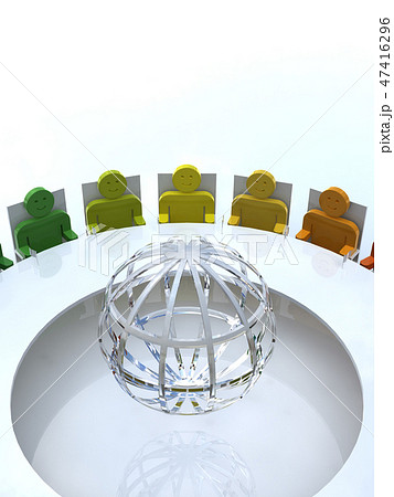 CG 3D イラスト 立体 デザイン アイコン 人 国際 会議 G20 輪 地球 人種 政治 47416296
