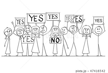 Cartoon Drawing of Group of People Protesting With Yes Signs, One Woman Say No 47416542