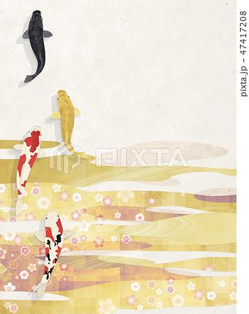 和モダン-和紙の風合い-金-桜-波-雲-錦鯉 47417208