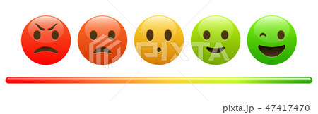 Mood meter, scale, from red angry face to happy green emoji 47417470