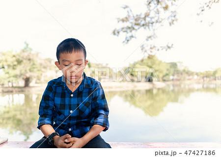 Depressed asian boy. Young asian boy sad 47427186