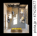 3d illustration of interior design plan for home office. Render in top view 47428677