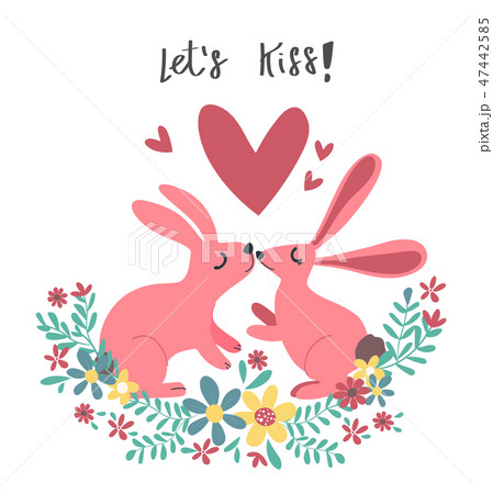 couple pink rabbit bunny kissing in  flower wreath 47442585