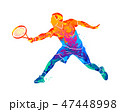 Abstract tennis player with a racket from splash of watercolors 47448998