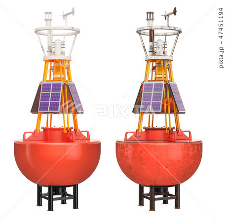 Weather buoys new and rusty, 3D rendering 47451194