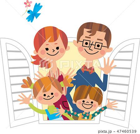 窓から手を振る家族 47460539