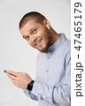 ヘッドホン ポートレート ミュージックの写真 47465179