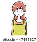 女性 主婦 白バックのイラスト 47465827