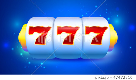 Spin and Win Slot Machine with Sevens. Bright Blue 47472510