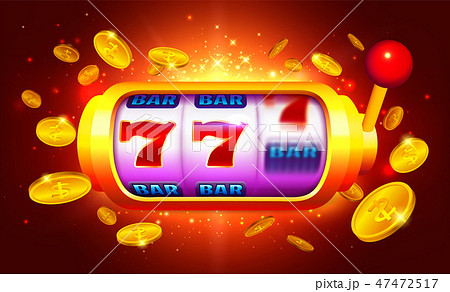 Golden Slot Machine with Moving Icons Vector 47472517