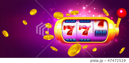 Trendy Casino Vector with Slot Machine and Coins 47472529