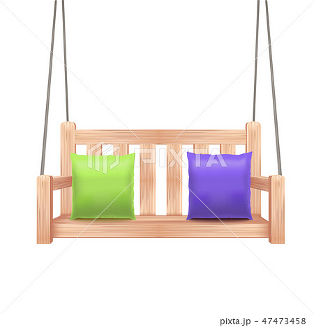 Realistic 3d Detailed Wooden Swing Bench. Vector 47473458