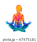 Abstract woman meditating from splash of watercolors. Lotus yoga pose Fitness 47475181