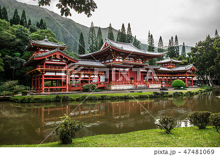Byodo-In Temple in Valley of the Temples at Oahu  47481069