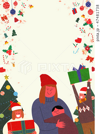 Christmas Party with Santa and family flat design vector illustration 009 47481738
