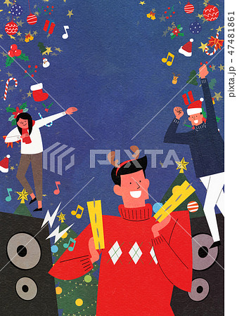 Christmas Party with Santa and family flat design vector illustration 002 47481861