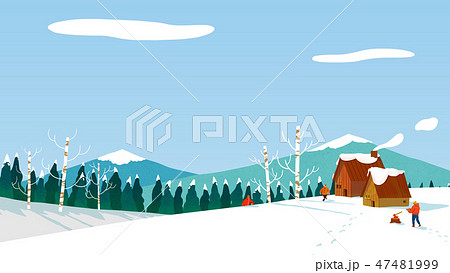 Beautiful winter landscape in nature. Winter landscape background vector illustration.001 47481999