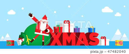 Christmas banner Santa Claus and snowman. colourful backgrounds vector illustration. 001 47482040