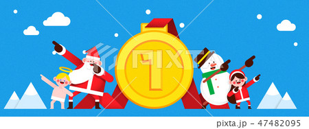 Christmas banner Santa Claus and snowman. colourful backgrounds vector illustration. 008 47482095