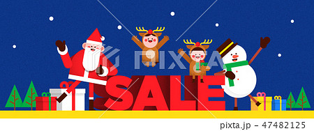 Christmas banner Santa Claus and snowman. colourful backgrounds vector illustration. 010 47482125