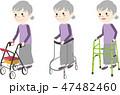 高齢者 歩行器 移動のイラスト 47482460