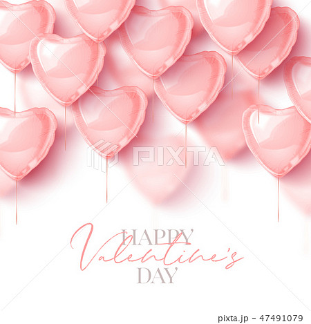 Happy Saint Valentines day greeting card with 3d pink balloon hearts. Vector illustration 47491079