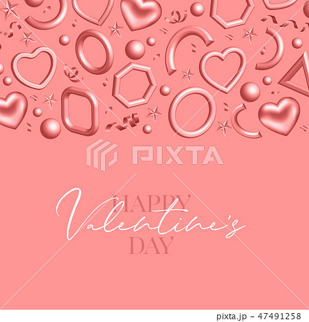 Valentines Day background decorated 3d coral hearts. Love vector illustration 47491258