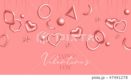 Valentines day background with coral hanging hearts and geometric figures. Vector 3d illustration 47491278
