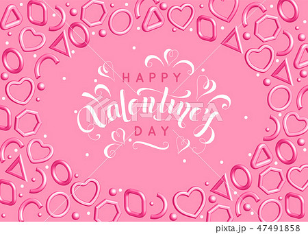 Valentines day background with pink hearts and elegant lettering. Vector 3d illustration for holiday 47491858