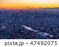 都市風景 高層ビル 日没の写真 47492075