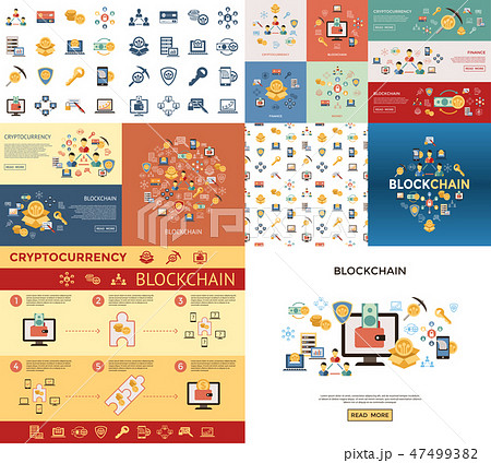 Digital vector line icons set blockchain pack 47499382