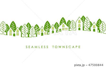 シームレスな町並みの線画イラスト 47500844