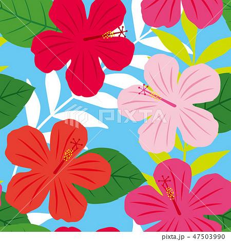 パターン 花柄 ハイビスカス柄 ブルー 47503990
