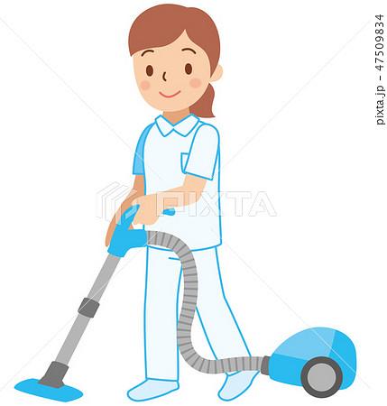 掃除機をかける制服の女性 47509834