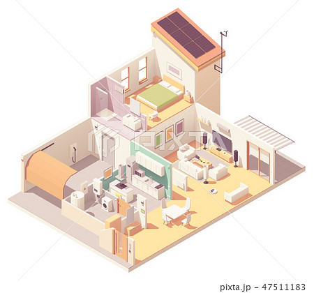 Vector isometric house cross-section 47511183
