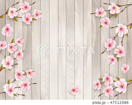 Cherry branch with a pink flowers 47512986
