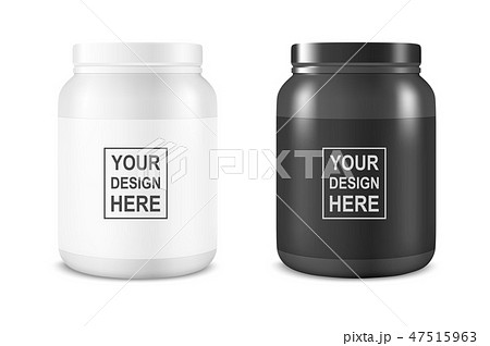 Vector Realistic White and Black Plastic Jar, Can with Lid Set Closeup Isolated on White Background 47515963