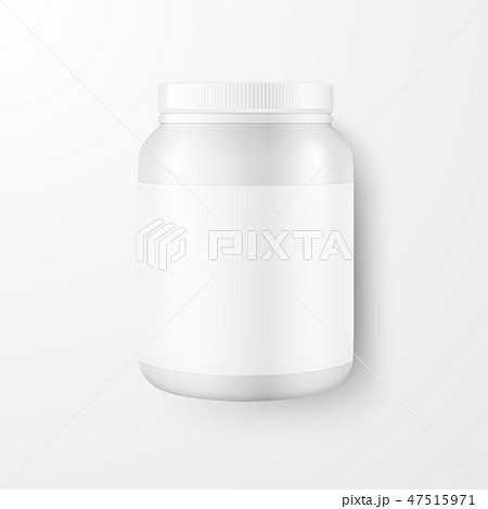 Vector Realistic 3d White Plastic Jar, Can with Lid Closeup Isolated on White Background. Design 47515971