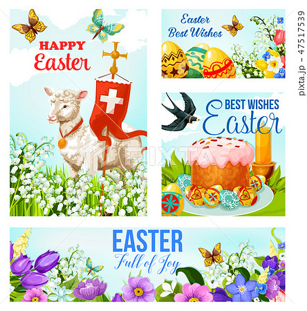 Happy Easter cross and eggs vector cards 47517539