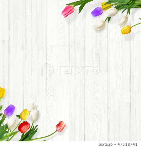 背景-白壁-木目-白木-春-チューリップ 47518741