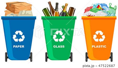 Set of different trash bin 47522687