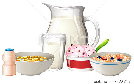 Breakfast set on white background 47522717